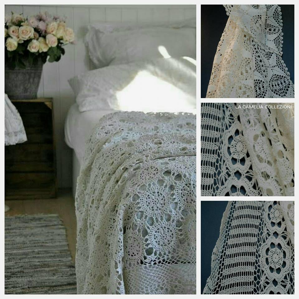 uncinetto crochet -copriletti stile shabby - la camelia collezioni