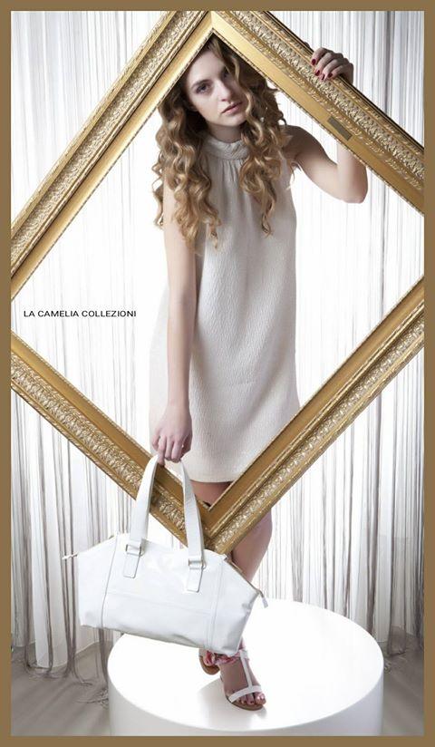 anni 60 - abito bianco lamè con accessori - la camelia collezioni