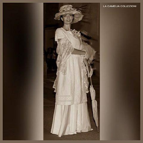 belle epoque - vestito panna con accessori in pizzo e dettagli rosa antico - la camelia collezioni