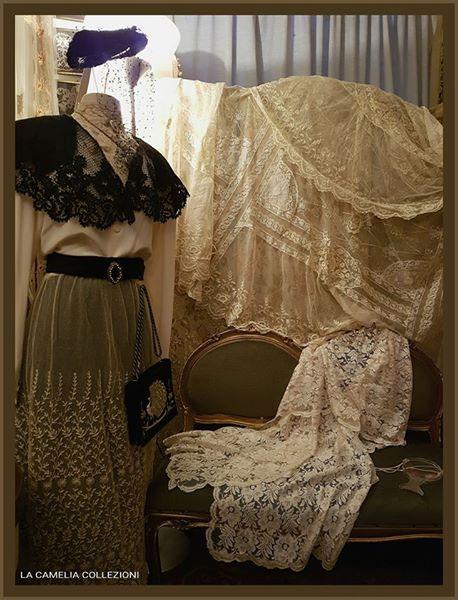 pizzi trine merletti - collezione - abiti e accessori secolo 800 - la camelia collezioni