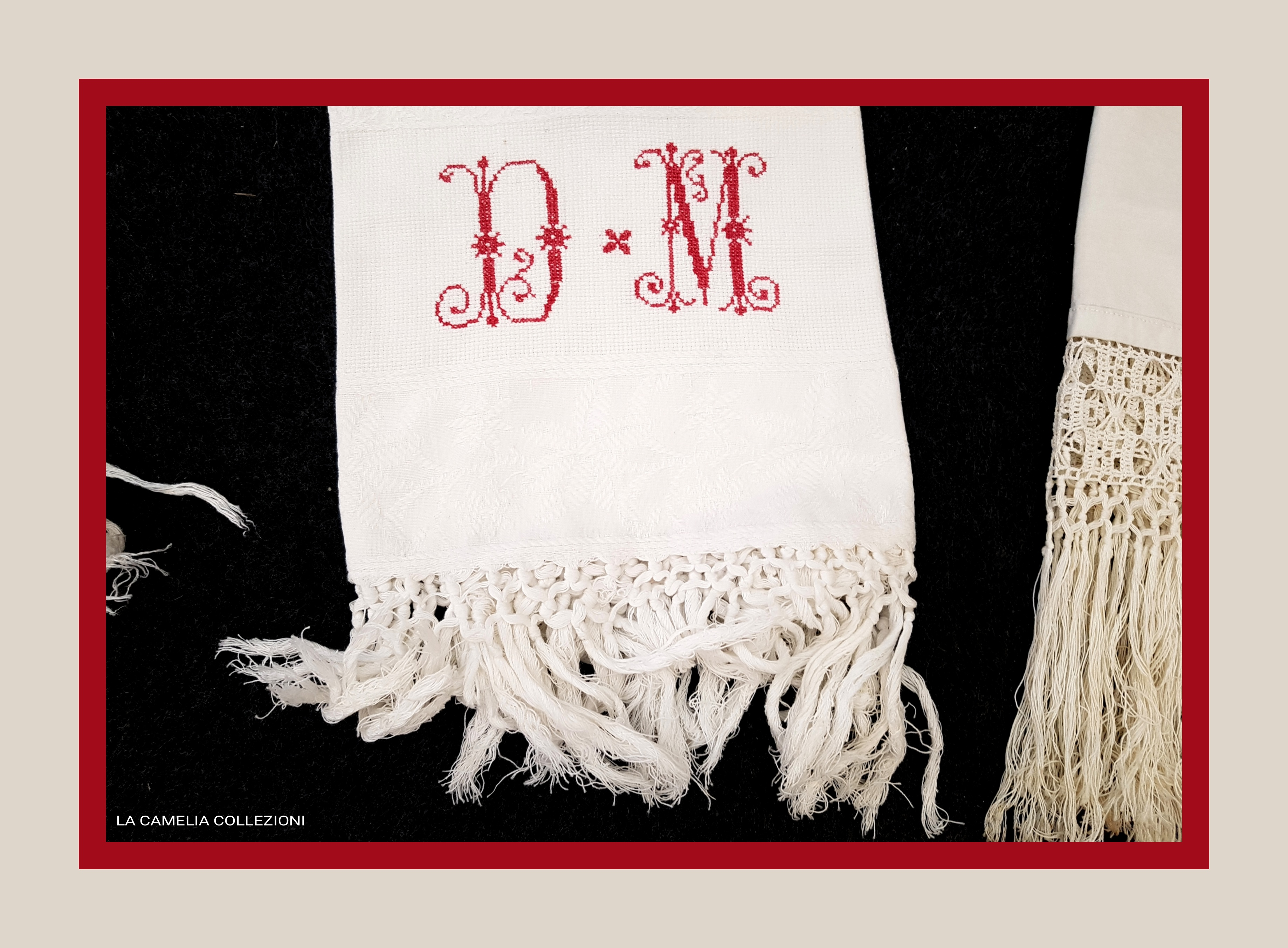 asciugamani antichi con frangia - la camelia collezioni