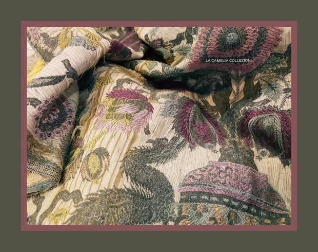 tessuto d'epoca in seta decoro ispirazione orientale - la camelia collezioni