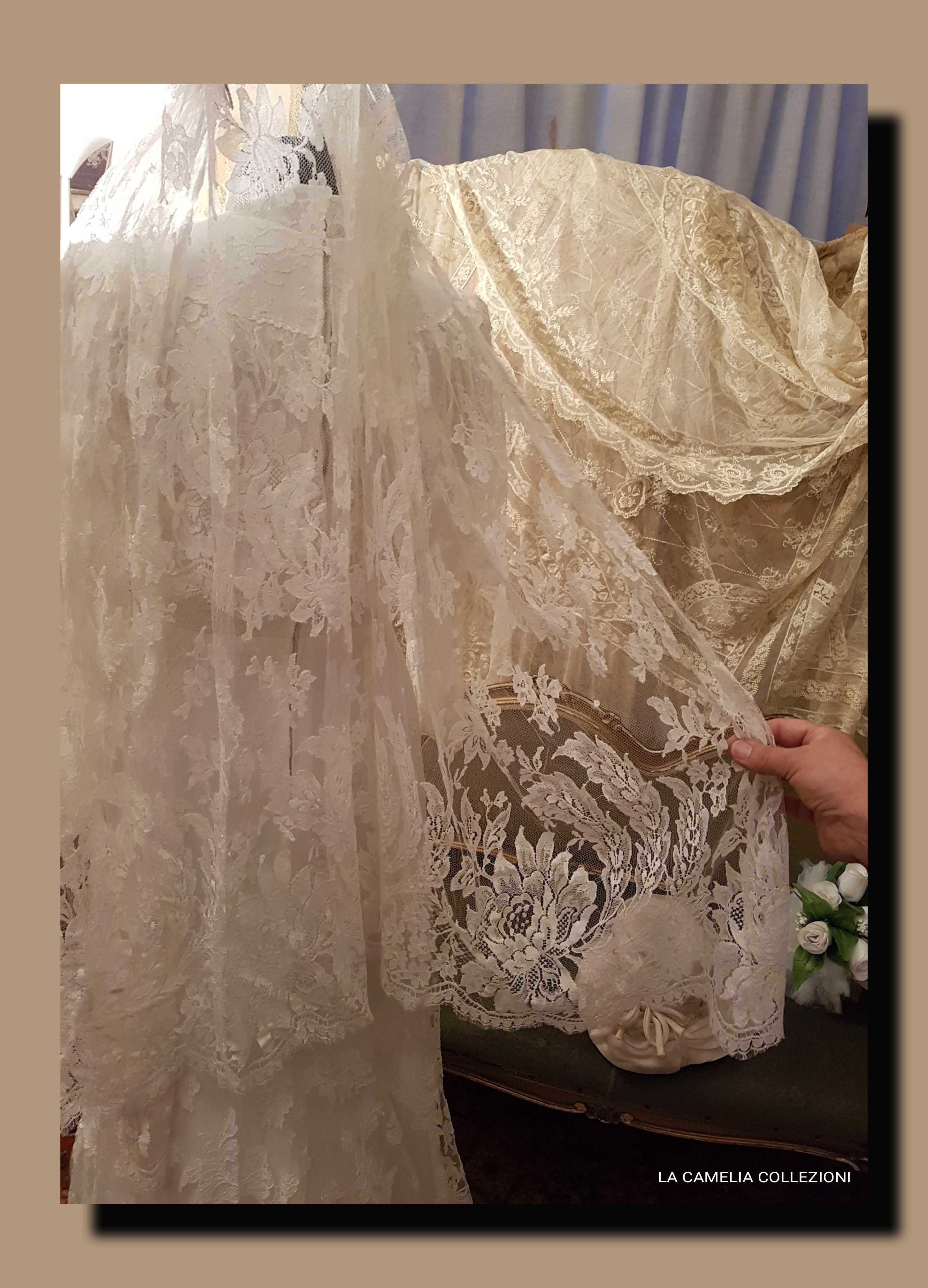 Veli da sposa in pizzo bianco - la camelia