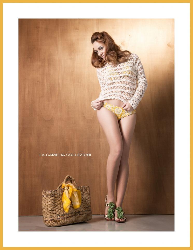 vintage swimwear - color senape - bikini floreale - la camelia collezioni