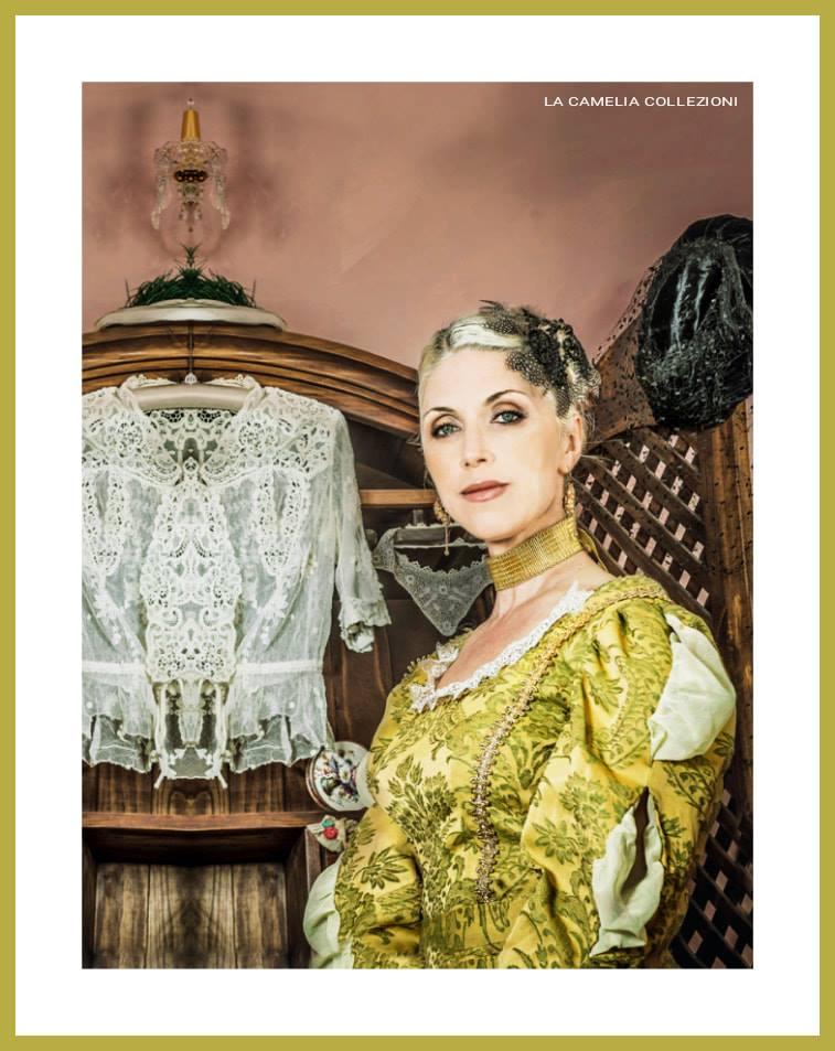 vestiti stile 700 venezia - giallo verde - la camelia collezioni