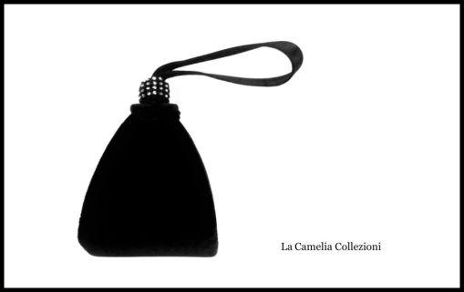 clutch - in velluto nero e strass - la camelia collezioni