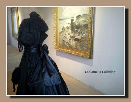 moda secolo 800 - taffettas nero donne di quadri - la camelia collezioni