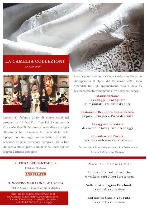 Newsletter Marzo 2020 - la camelia collezioni