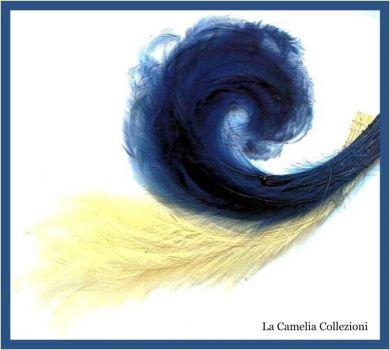 piume ornamentali d'epoca - blu e panna - la camelia collezioni