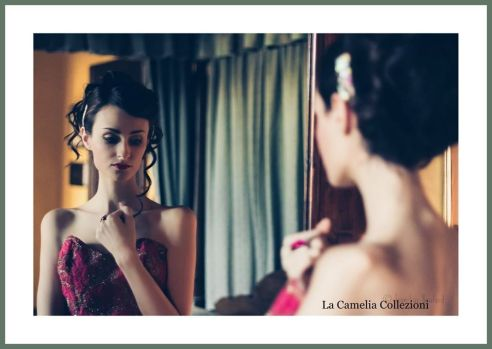 vintage dress - abio in tulle color fragola - la camelia collezioni