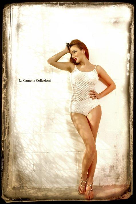 vintage swimwear - originale anni 50 in lastex bianco - la camelia collezioni